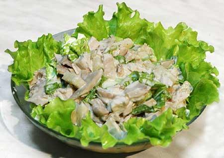 Фото салата куриного с шампиньонами