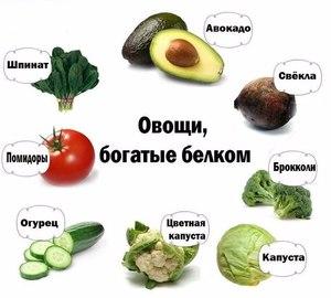 Овощи, богатые белком.